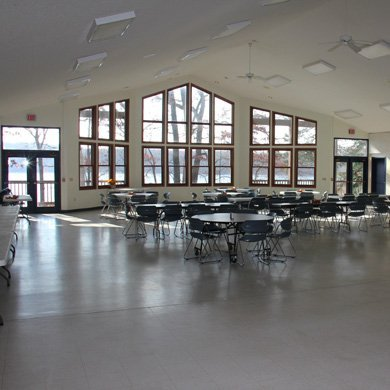 Pretty Lake Camp Dining Hall can seat 200 people