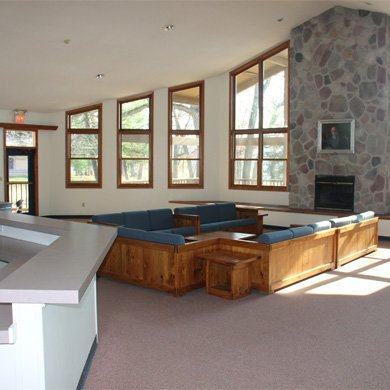 Pretty Lake offers spacious meeting space with fireplace